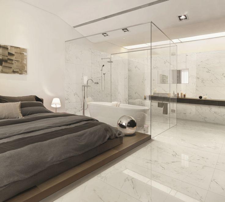 A7 Statuario Venato #CaesarAnima #bedroom #space #gresPorcellanato #EffettoMarmo
