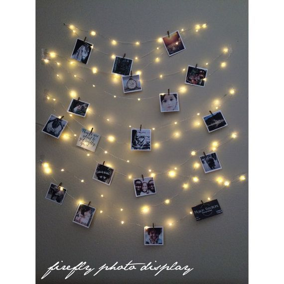 Light String Photo Display, picture frame vintage,  photo string, picture frame collage, picture frame charm, fairy lights, wedding lights
