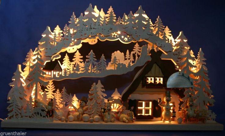 3D-Schwibbogen Erzgebirge Pyramide geschnitzt erzgebirgischer Lichterbogen Neu | eBay