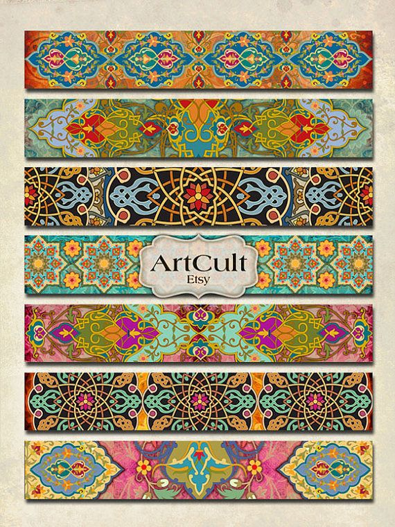 Feuille de Collage numérique - ART bandes No2 images au format 1 x 6 pouces pour bracelets manchettes scrapbooking d