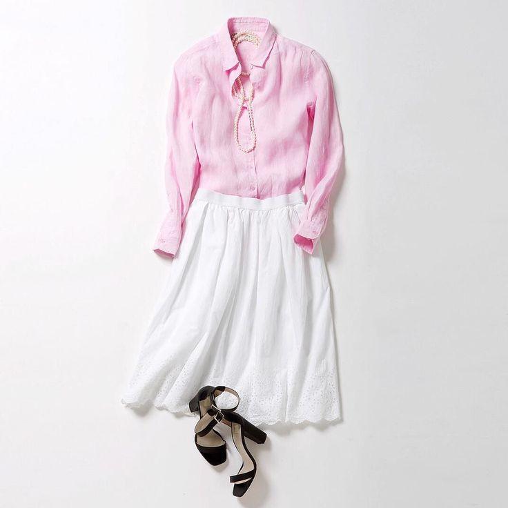 花びらのように優しいピンクで春のドレスアップをリネンシャツとレースをあしらったスカートで上品フェミニンに Get a taste of spring with these sakura-inspired pieces! #uniqlo #uniqlolifewear #simplemadebetter #linen #shirts #linenshirts #skirt #pastel #ユニクロ #リネン #シャツ #リネンシャツ #スカート #パステル by uniqlo