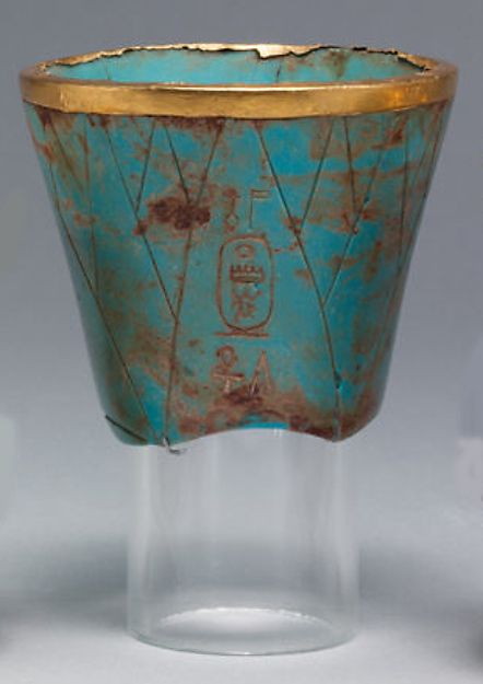 Lotiform chalice | New Kingdom, Dynasty 18, reign of Thutmose III, ca. 1479–1425 B.C.,  From Egypt, Upper Egypt; Thebes, Wadi Gabbanat el-Qurud, Wadi D, Tomb of the 3 Foreign Wives of Thutmose III | glass, gold