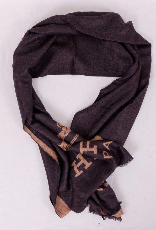 Большой длинный шарф Hermes из мягкого кашемира и шелка, темно-коричневого цвета. Размер 180x65cm #19979
