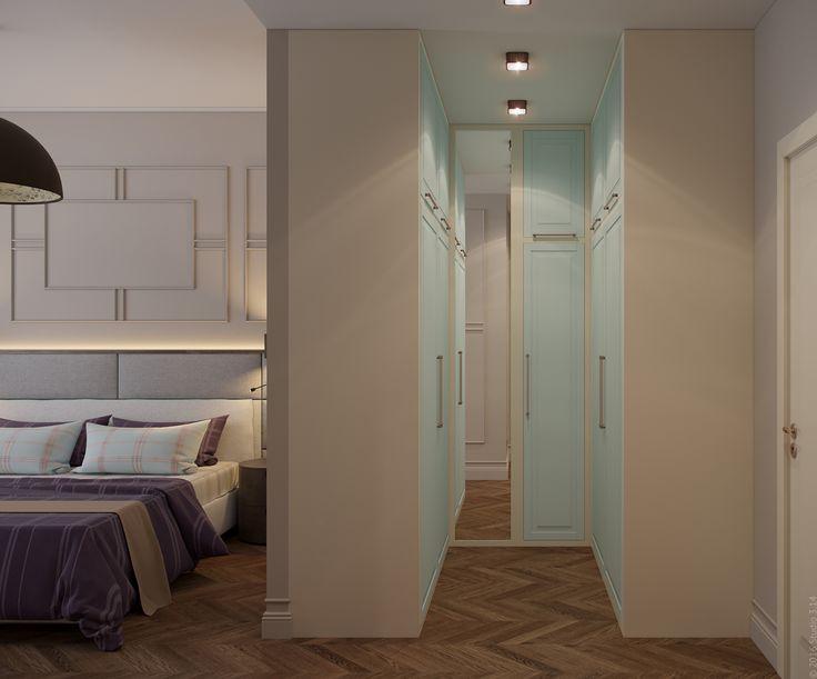 Гардеробная зона в спальне отделена самим одежным шкафом.
