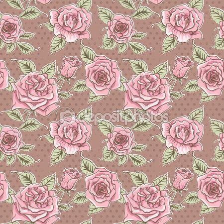 Fundo de lindas rosas Vintage de vetor. Padrão sem emenda floral — Imagem de Stock #68469783