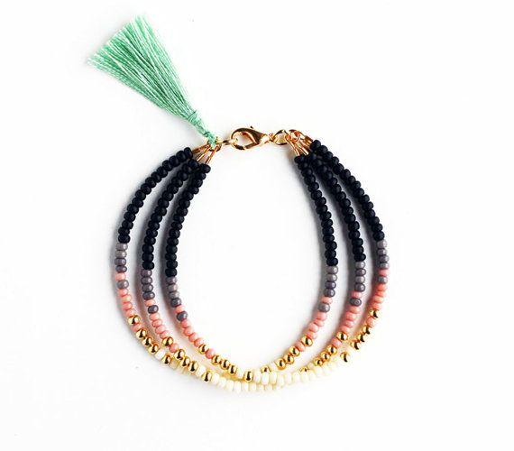 Beaded Tribal Bracelet - Wrap Bracelet - Bracelet with Mint Tassel - Black Grey Gray Blush Pink Gold Cream Bracelet