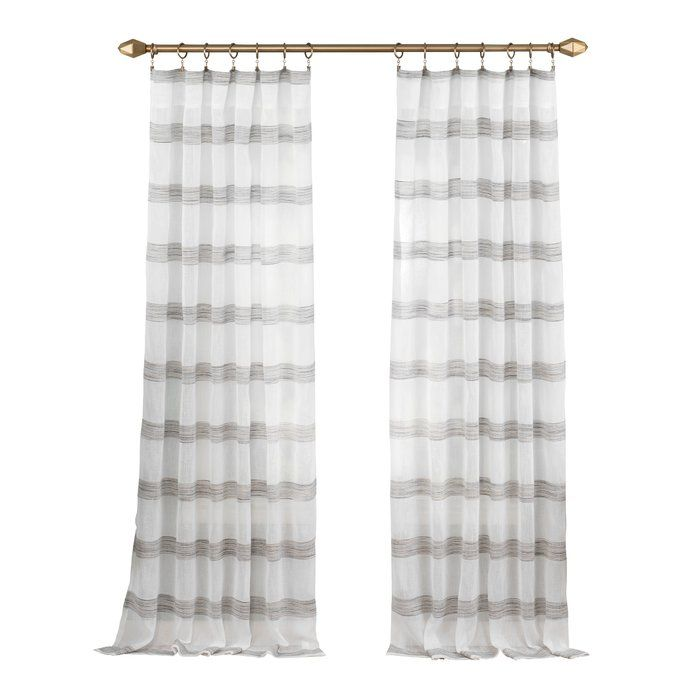 Hawkinsville Window Striped Semi Sheer Rod Pocket Single Curtain