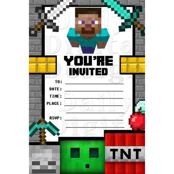 Minecraft Party Invitations Birthday Invites Blank Fill In