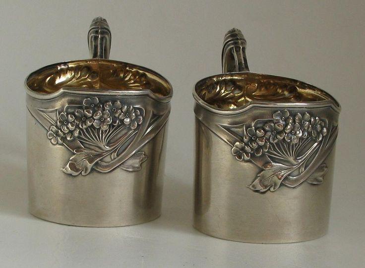 """Парные подстаканники """"Цветы"""", серебро 800*,общий вес 104 гр. А.ROESNER, Германия."""