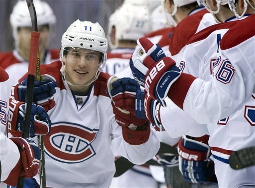 Brendan Gallagher celebrates his goal against the Leafs during the second period in Toronto on Saturday, April 27, 2013. (AP Photo/The Canadian Press, Frank Gunn)