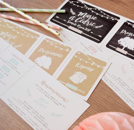 Faire-part mariage guinguette champetre - Format pass festival ou concert avec guirlandes guinguettes fond kraft et arbre champetre