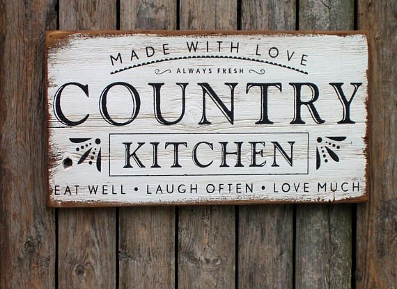 Made With Love Country Kitchen Wood Sign Rustic Farmhouse Rustic