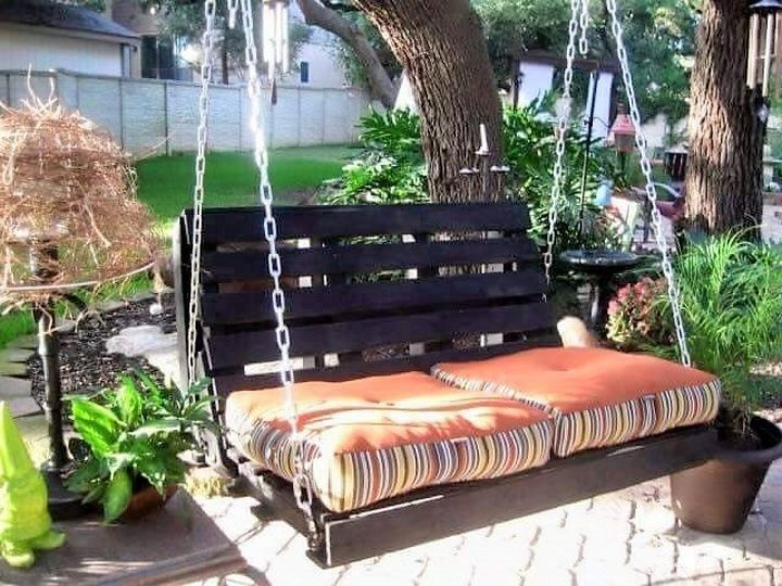 If you have a low budget and you want to decorate your patio with a lively swing then go for a pallet wood swing as pallet wood is the cheapest source of wood, abundantly available. You can re-purpose the pallet wood and paint it in your desired color. You can add foam seats and upholstery to make it comfy.