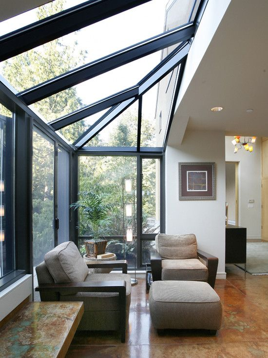 Inspiring Small Sunroom Sill Provides An Adequate Place To Escape And Relax: Cool Small Sunrooms On Simplicity Style Wall Light Hanging Frame Sloping Ceiling And Marble Floors On Contemporary Entry ~ veloshawinigan.com Architecture Inspiration