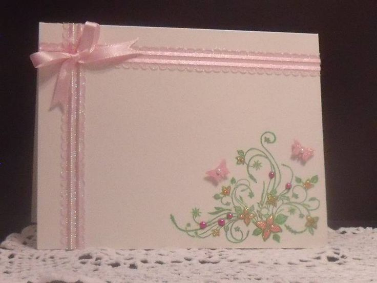 love how the ribbon is used on this card: Cards Misc, Cards Ideas, Beautiful Cards, Easter Cards, Cards Pink, Cards Ana, Floral Cards, Flower, Cards Handmade