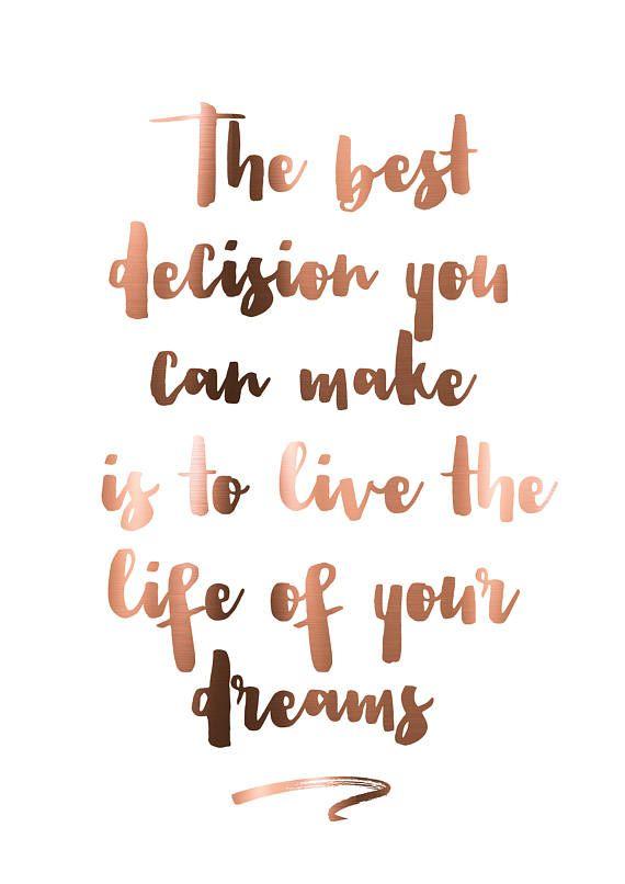 Travel prints // travel // the best decision // dreams // live // love // copper foil print // copper // prints // copper wall art // quote – Maxine Monaco