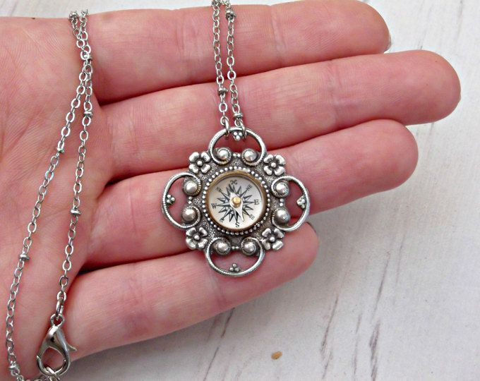 Victorian Filigree Working Compass Necklace