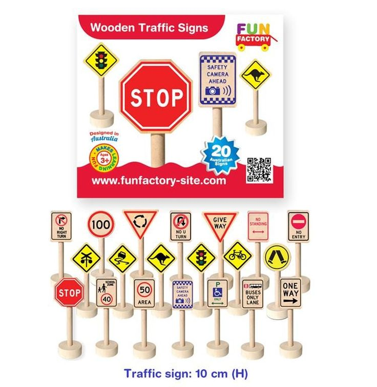 21 wooden traffic signs.