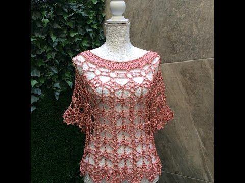 Como tejer con dos agujas y horquilla blusa de verano Lavanda con Ruby Stedman 1 - YouTube