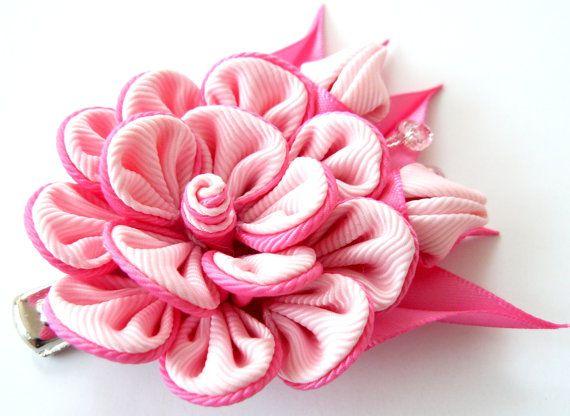 Kanzashi fabric flower hair clip Pink fabric flower. by JuLVa