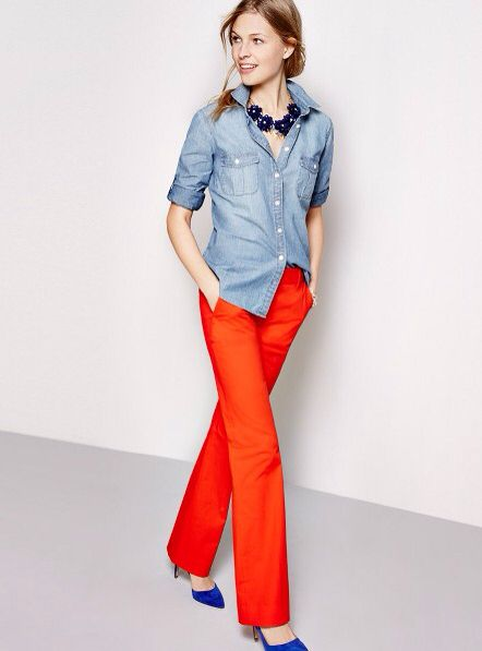 Chambray - orange pants - cobalt shoes