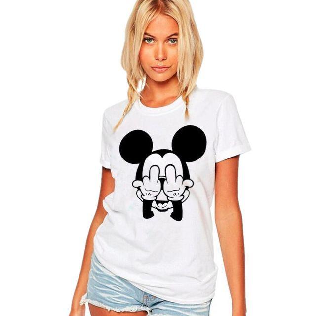 Rato dos desenhos animados Camiseta Mulheres Meio Dedo Engraçado Casal Roupas de Manga Curta Dos Homens/Momen T Camisa tops Camisetas Mujer S-XXL