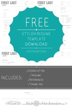 Free Photoshop Download: Chic and Polished Resume Template. Pretty-fy your resume today!