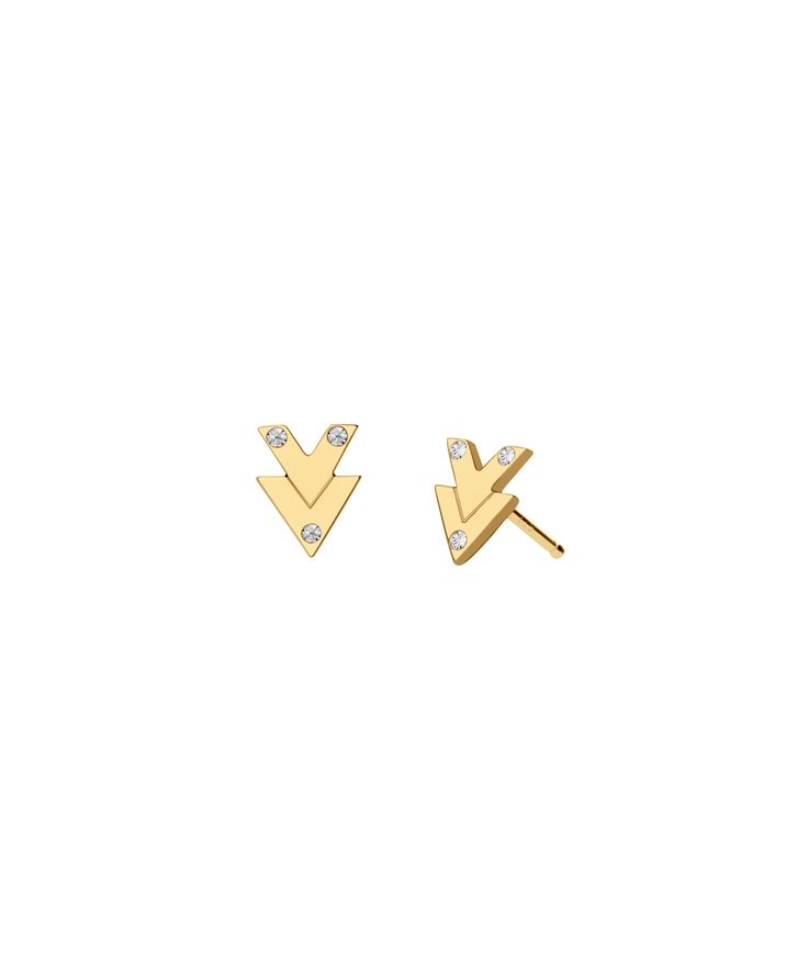 18K gold vermeil arrow stud earringswith white topaz accents. Available as singles or a pair.