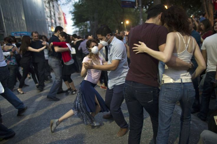 Turkish protesters dance the tango in Gezi Park on June 6, 2013.
