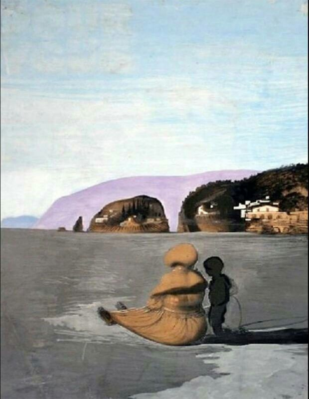 Salvador Dali - Adolescence, This painting,features the young Dalí with his beloved nurse, Lucia. Her head and back are also the nose and mouth that, combined with the eyes in the hills, complete the paranoiac-critical face. The face might be Gala, with whom Dalí was becoming more and more infatuated at that time. Dalí loved his nurse very much so there is a symbolic reason to use her figure as the completing elements of Gala's face. This painting was stolen at gunpoint from Scheringa Museum