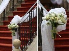 украшение лестницы цветами драпировками