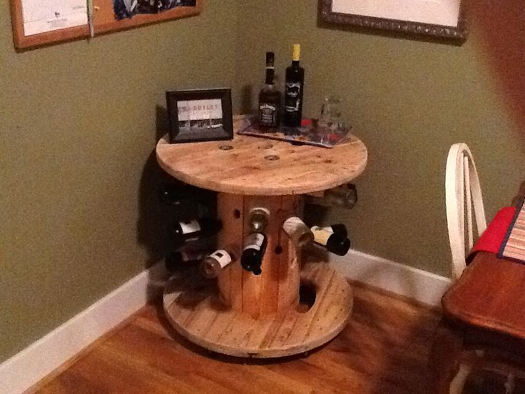 Diy Cable Spool Bar With Wheels Recycled Wooden Cable