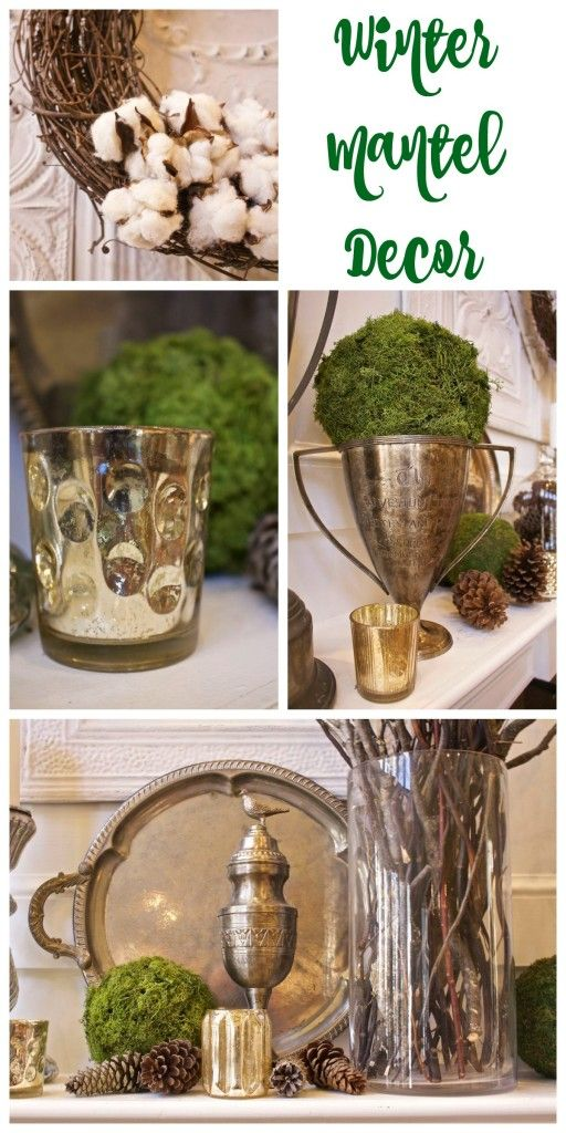 Winter Mantel Decor using vintage and found items. Vintage silver, vintage trophies, bright green moss, mercury glass, branches and pinecones make perfect winter decor. - 2 Bees in a Pod