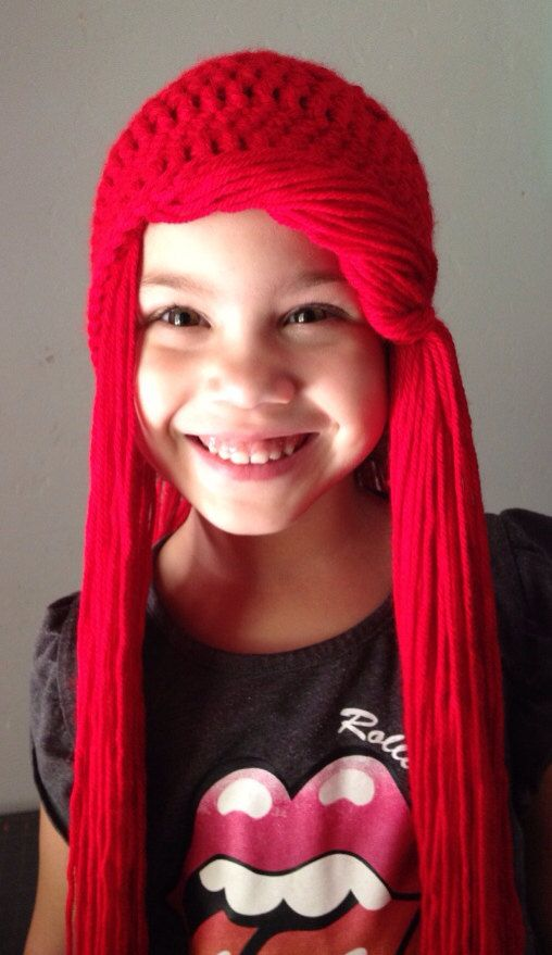 Crochet Disney Princess Ariel inspired beanie hat wig is the perfect addition to every little mermaids dress up costume!:D