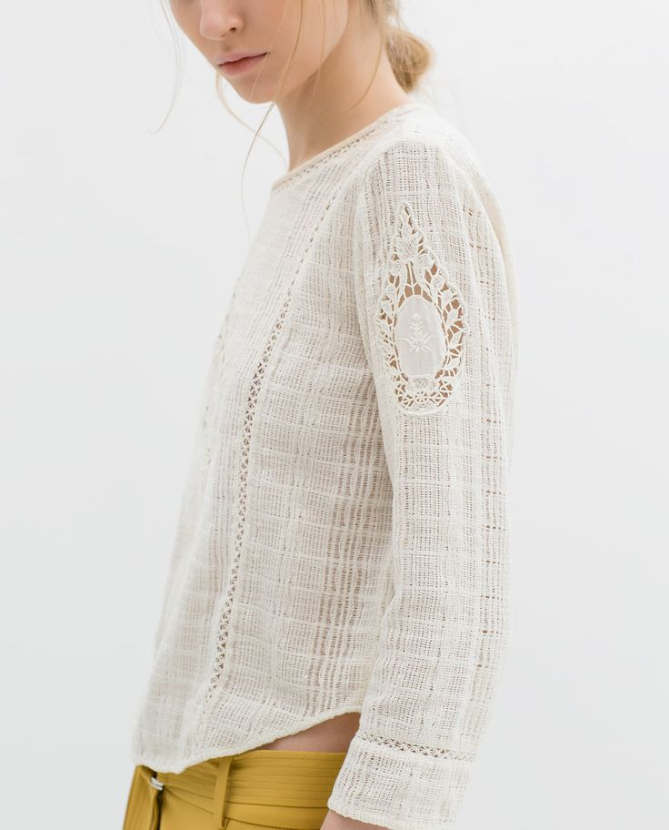 ASYMMETRIC EMBROIDERED TOP from Zara