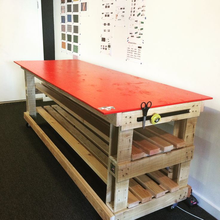 rolling workbench from scavenged materials including the casters pallets plywood top - Rolling Workbench