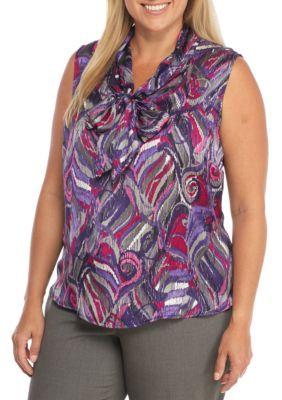 Nine West Women's Plus Size Printed Neck Bow Tie Blouse - Blueberry Multi - 2X