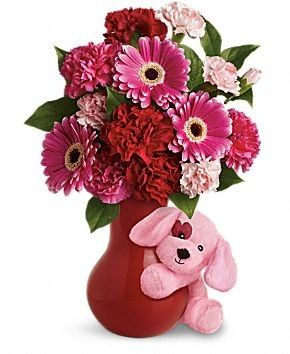 FDH Send a #Hug_Sweetheart  it is a cuddly pink puppy bearing flowers in a sweet red ceramic vase - what a delightful surprise for Valentine's Day and Adorable and affordable, it's the perfect gift for all the sweet people in your life.