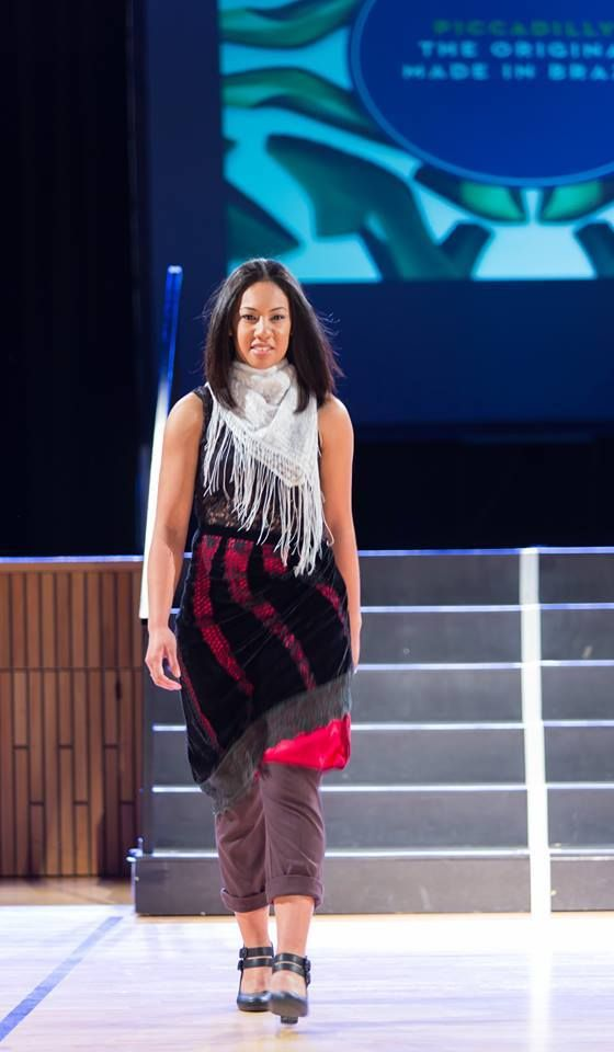 Outfit No. 1 from Kila's Thrift Store Challenge presented by stylist Nora Swann at New Zealand Eco Fashion ExposedSTYLED OUTFIT INCLUDESBrown TrousersBlack SingletRed