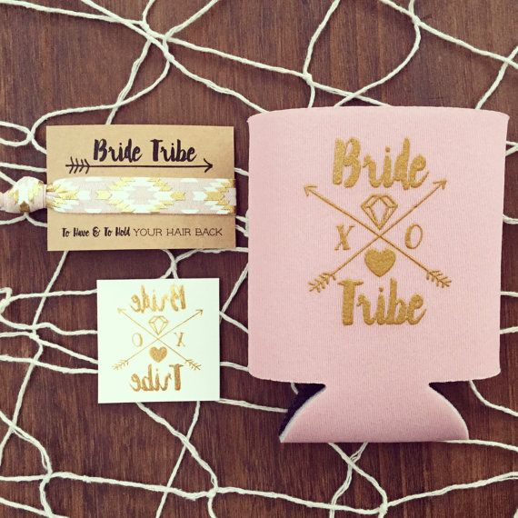 Blush Pink Bride Tribe Bachelorette Gift Set Gold Foil Tattoo Hair Tie Drink Cooler Party Favor Boho
