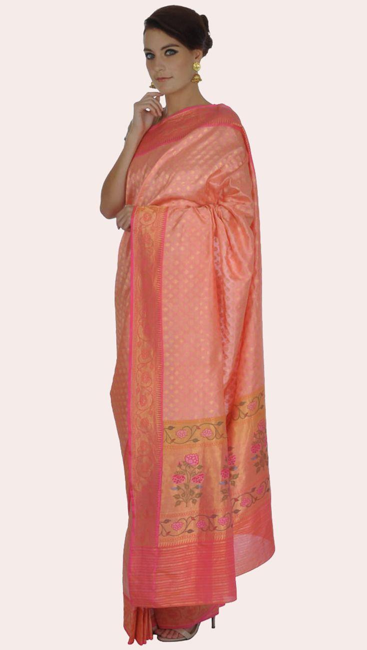 Pink Meenakari Paithani Handwoven Banarasi Zari Pure Silk Saree