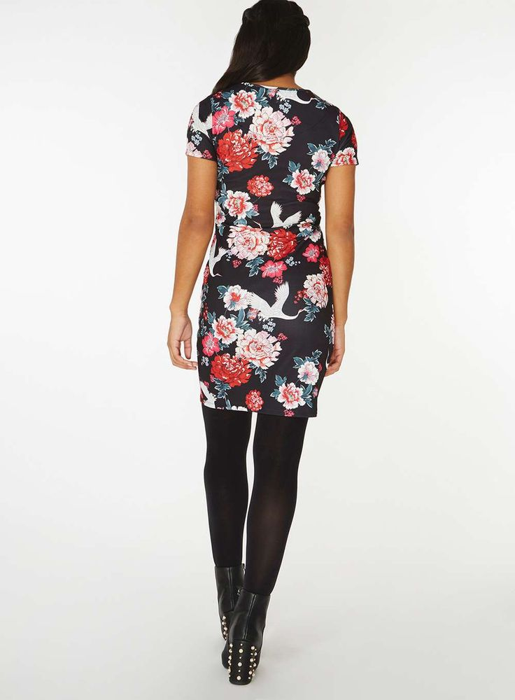 Womens Multi Coloured Floral Print Bodycon Dress- Red
