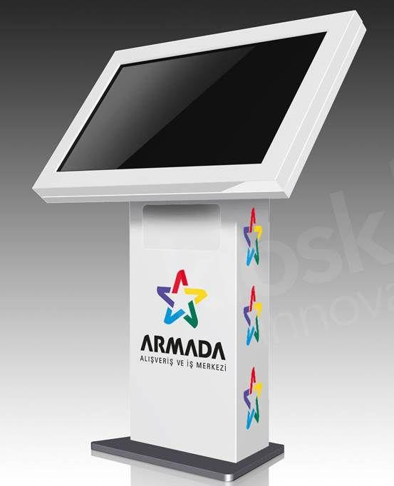 Armada AVM'leri için tasarlanan touchdeskler, Armada'nın reklam ve bilgi amaçlı videolarının yayınlanmasına olanak sağlıyor ve AVM misafirlerinin yön bulmalarını kolaylaştırıyor.