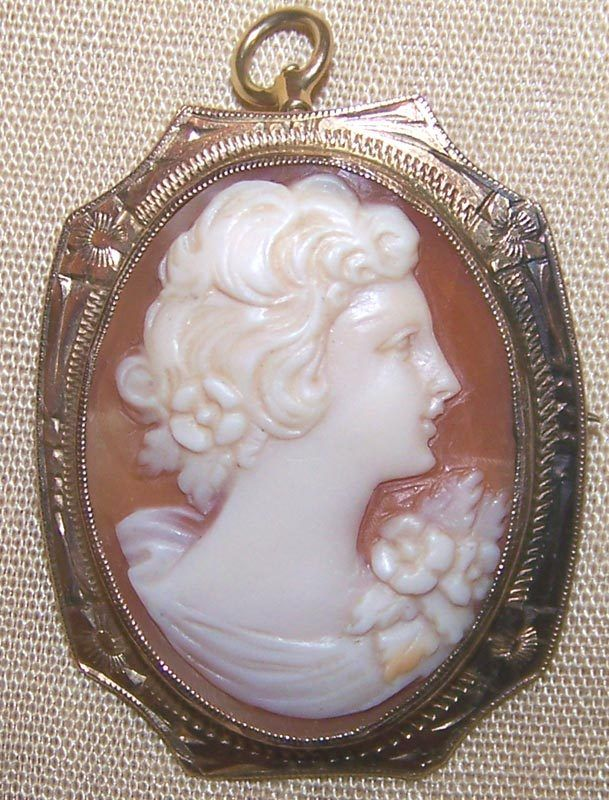Victorian 10 KT Gold Carved Shell Cameo Pin Pendant with Fancy Engraved Frame  $160    Express Mail Service available!