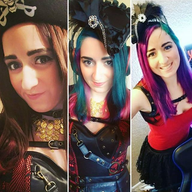 Looking back on my hair and where we've come as pirates. It's crazy to think that two years ago I started our pirate crew theme officially and now look where we are today!  I'm the hair color changing Pirate Queen Ana!  . . . #gaming #pc #girlgamer #gamergirl #streaming #videogames #games #twitch #twitchlove #pirate #unicorn #dyedhair #hairdye #tealhair #bluehair #purplehair #tealhairdye #pinkhairdye #vibranthairdye #punkyhair #punkycolour #hairstyle #hairstyles #corset #queen