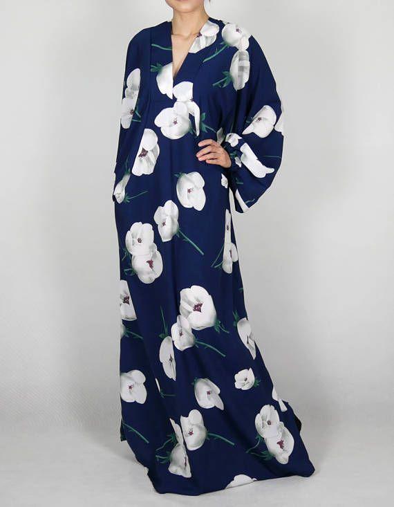 Kaftan Summer Day Caftan Long Maxi Dress Plus Size Batwing Long Sleeve Floral Navy Blue