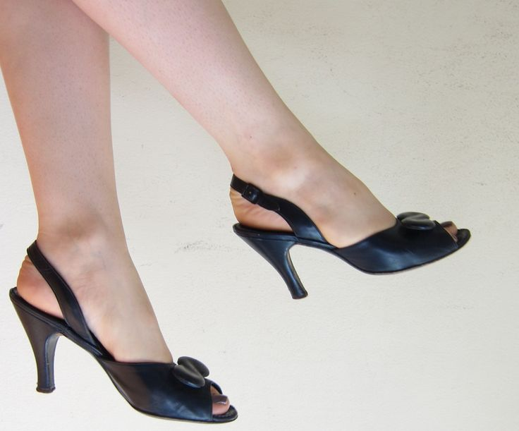 Vintage 1950s Black Leather Slingbacks High Heels Sandals Martinique Joseph Salon 50s Open Toe Shoes