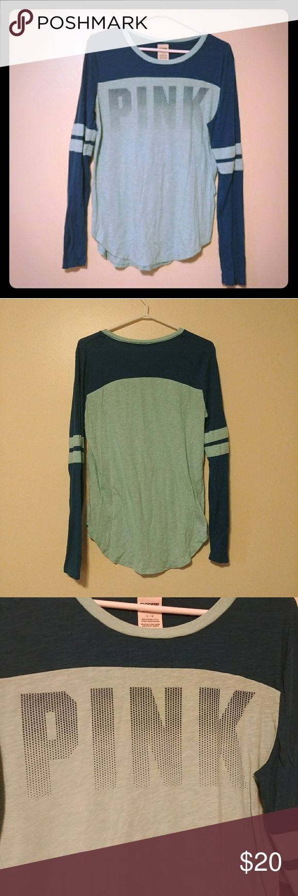 Victoria secret pink long sleeve teal shirt Victoria secret pink long sleeve blue and teal shirt. A few linty area unde lr the arms, as pictured. Other than that good conditon. Size large. PINK Tops Tees - Long Sleeve