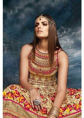 beige banglori couleur costume Anarkali de soie, - 167,00 €, #RobesIndienne #LaModeIndienne #TenueBollywood #Shopkund