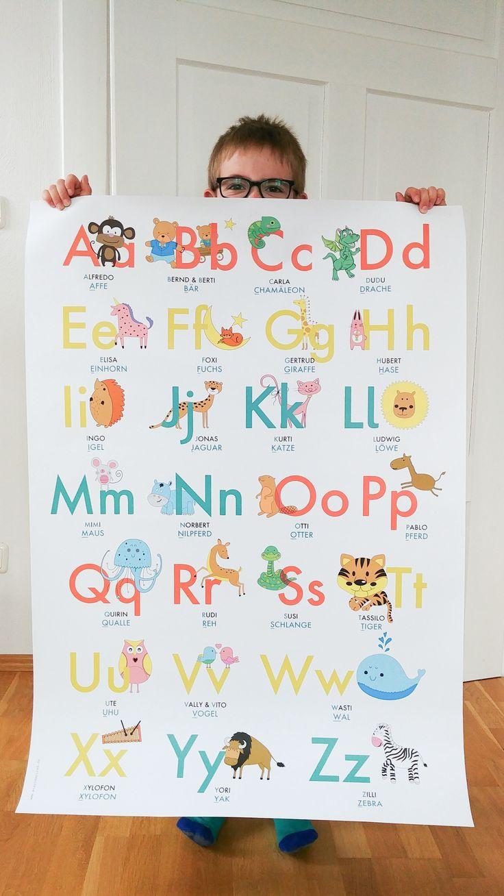 ABC Lernposter mit Tieren... perfekt für Kindergartenkinder und ...